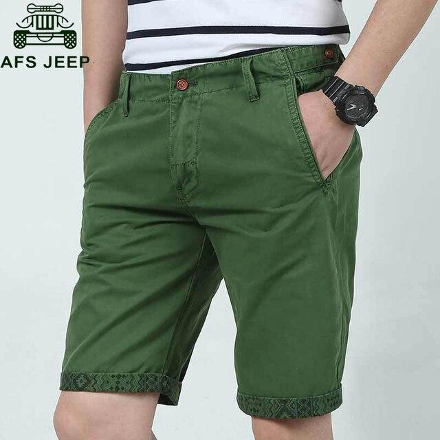 AFS JEEP Summer Short Men Blue Green Khaki Summer Mens Shorts Cotton Short bermuda masculina Casual Fashion Male Overalls