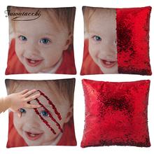 Fuwatacchi Customize Picture Mermaid Sequin Pillow Case Cushion Cover Magical Color Changing Decor Pillows for Sofa Car