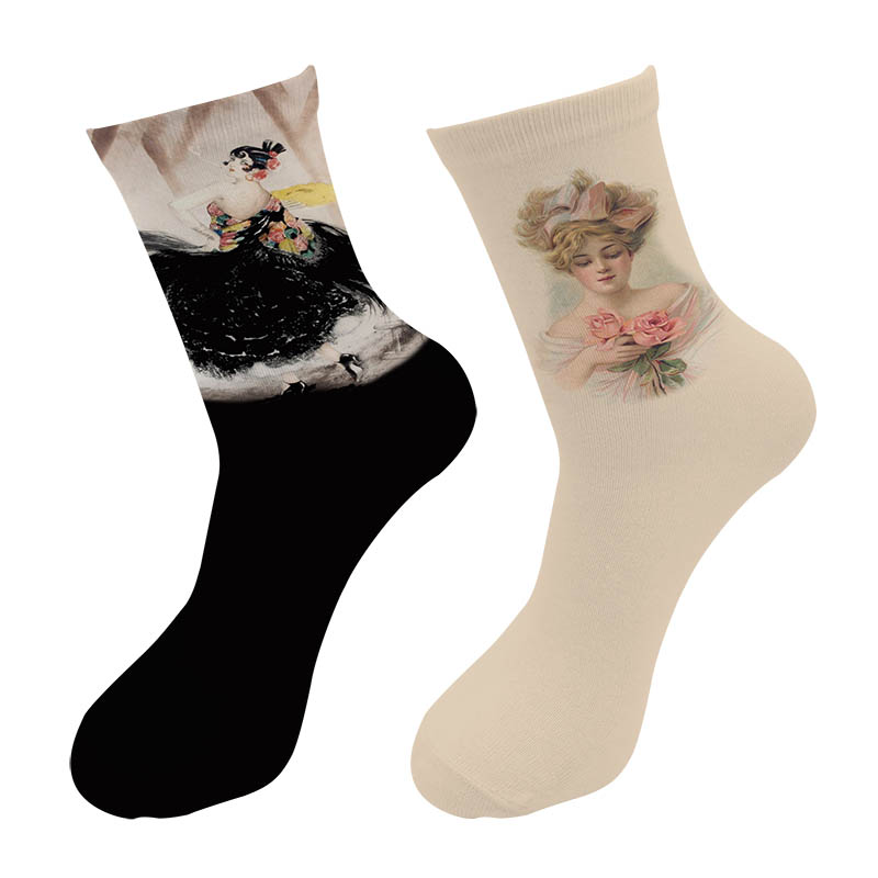 New 3D Printed Female Portrait Paint Crew Socks Men Black Swan Dance Beauty Women Painting Long Men's Dress Tube Socks