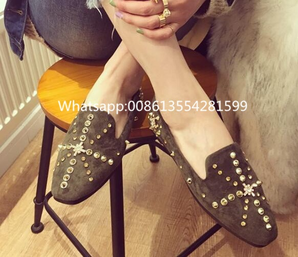 European New Arrival 2017 Spring Fashion Shoes Flat High Quality Low Price Women Hot Sale Colorful Crystal Rivet Flat Shoes new 2015 fashion high quality lazy shoes women colorful flat shoes women s flats womens spring summer shoes size eu35 40wsh488