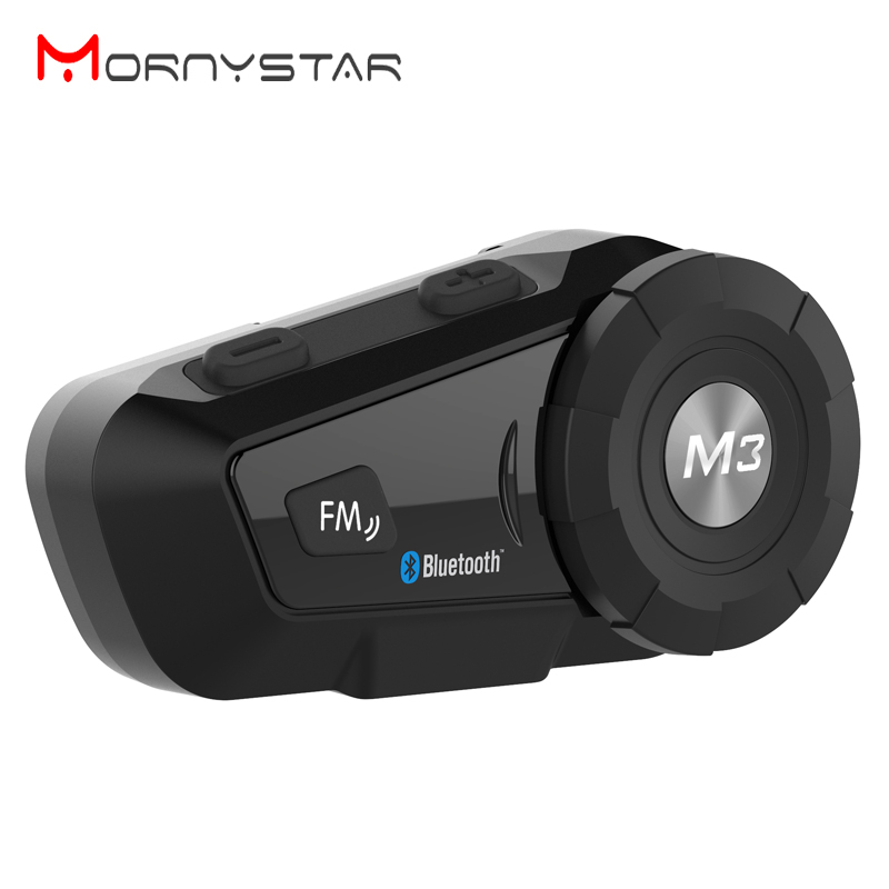 2019 Mornystar M3 Multi BT Interphone  Motorcycle Bluetooth Helmet Intercom Intercomunicador Moto Interfones Headset With FM