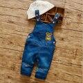 Nueva llegada de Corea Del estilo de la Muchacha del Verano Ropa de Moda Denim Pantalones de Los Niños Femeninos Bib Jeans Historieta Encantadora de Los Mamelucos Del Mono