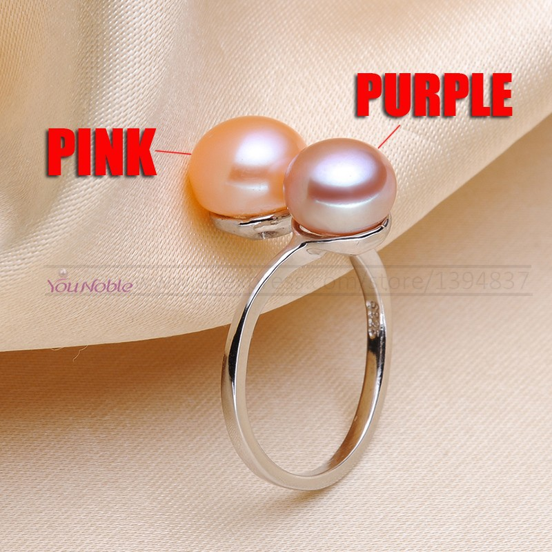 Schwarze Perle Ringe für Frauen natürliche Doppel Perle Herrenring - Edlen Schmuck - Foto 5