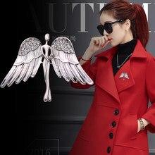 1e9fc8a85e0 I-Remiel Модные женские и мужские хрустальные Крылья Ангела Брошь булавка  для пальто костюм