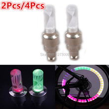 2/4Pcs Mini Colorful Bike Wheel Valve Light LED Light For Car Motorcycle Bicycle Wheel Valve Caps LED Flash Lights Lamp HOT SALE