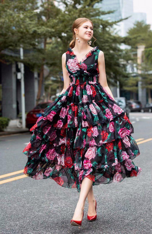 Couche Une Marque De Qualité Boule Designer Chambre As Longues Photo Imprimé Femmes Nouveau Same Rose Cou Supérieure Ruches Arrivent Robes 2019 Mince V arXq8pX