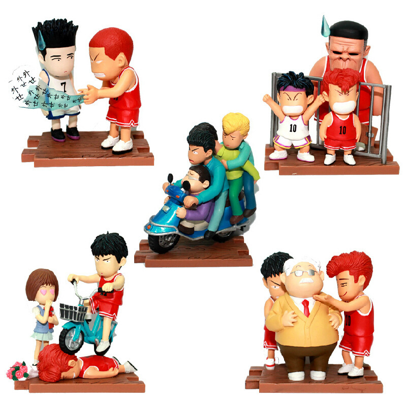 Huong Anime Cartoon Slam Dunk 5PCS/SET Sakuragi Hanamichi Rukawa Kaede PVC Action Figures Collectible Brinquedos Model Toys new hot sale 5pcs set anime figure pvc toy basketball slam dunk hanamichi sakuragi 6cm collectible kids toys gifts free shipping