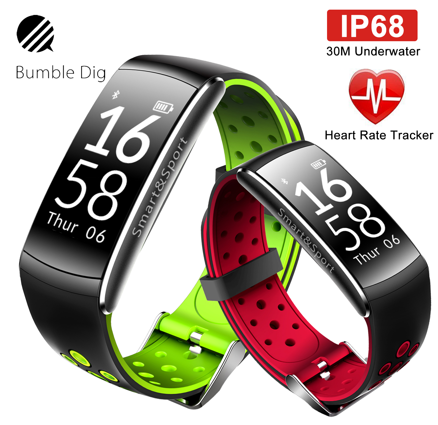 B-DIG Smart Wristband Heart Rate Monitor IP68 Waterproof Fitness Tracker Blood Pressure gps Bluetooth For Android IOS women men 2017 xiaomi amazfit a1603 smartband oled touch key bluetooth heart rate monitor fitness tracker smart wristband for android ios