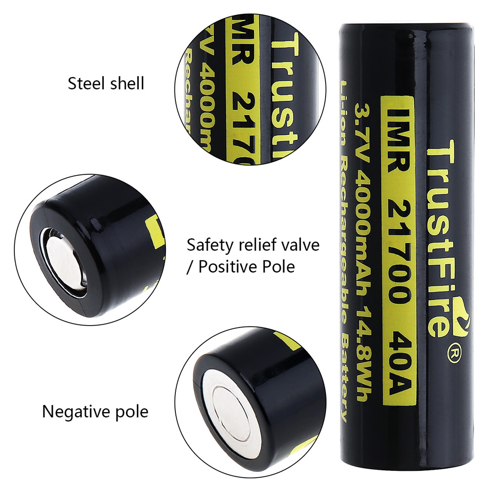 20pcs/lot TrustFire 21700 3.7V 40A 4000mAh 14.8W Li-ion Rechargeable Battery with Safety Relief Valve for Headlamp/Bicycle Lamp