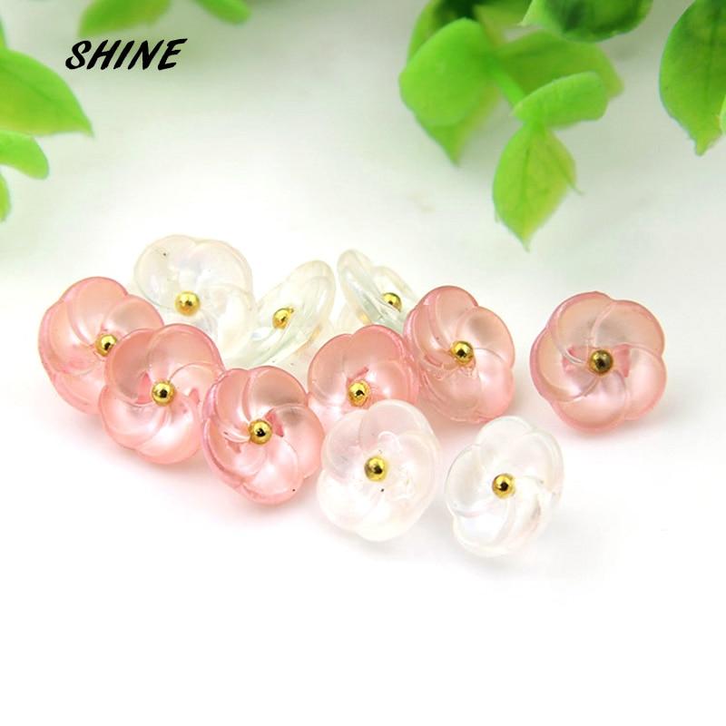 30 шт. швейные кнопки для скрапбукинга цветок белый и розовый хвостовик для малыша Costura Botones украсить bottoni botoes 11,5 мм