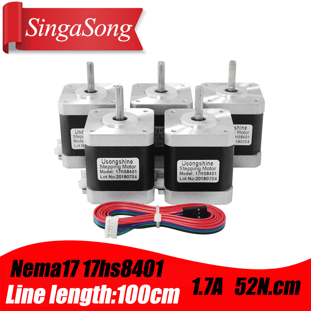 Free shipping 48mm Nema17 Stepper Motor 42 motor Nema 17 motor 42BYGH 1.7A (17HS8401) motor 4 lead for 3D printer CNC XYZ-in Stepper Motor from Home Improvement    1