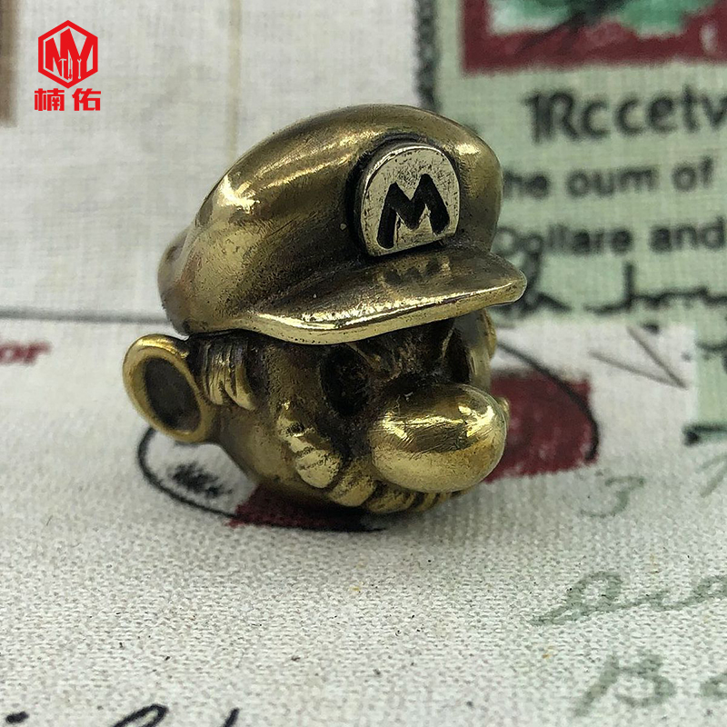 1PC EDC Tool Brass Knife Beads Pure Copper Mario Paracord Beads Umbrella Rope Pendant Flashlight Pendants Refers Tiger Pendant