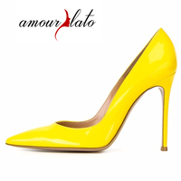 Amourplato Women S 10cm High Quality Red High Heel Sexy Pointed Toe Pumps Patent Wedding Shoes