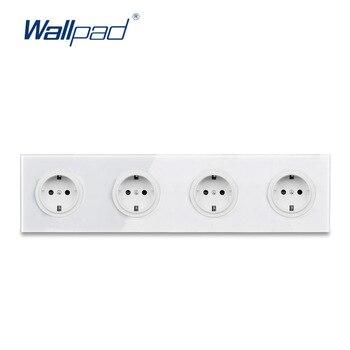 Wallpad L6, toma de corriente blanca cuádruple de 4 vías, enchufe alemán de la UE, toma de corriente Schuko, toma de pared con Panel de vidrio templado de 344x86mm, 4 puertos, 4 entradas