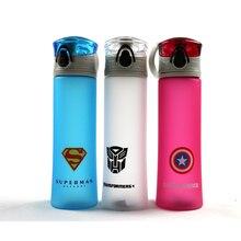 Новый BPA бесплатно Пластик Портативный бутылка для воды Человек-паук/Супермен/Трансформаторы/Бэтмен/Капитан Америка для спорта на открытом воздухе Отдых