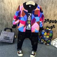 3PCS boys fashion clothing set kids new printed hoodies black t shirt and jean set baby o neck long sleeve zipper clothes 2 7T