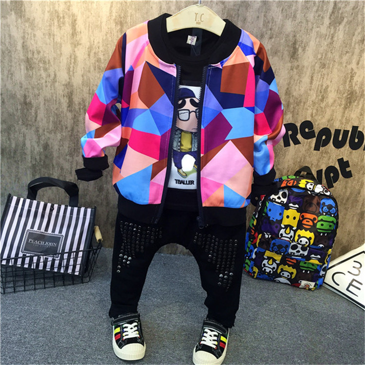3PCS boys fashion clothing set kids new printed hoodies black t shirt and jean set baby o-neck long sleeve zipper clothes 2-7T 2017 new arrival 3pcs baby boys long sleeve t shirt tops braces trousers clothes fashion kids outfits set for 1 6y
