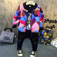 3PCS boys fashion clothing set kids new printed hoodies black t shirt and jean set baby o-neck long sleeve zipper clothes 2-7T