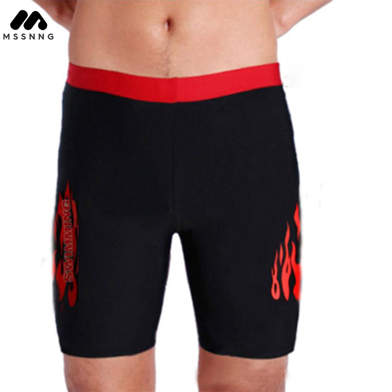 MSSNNG Mens Print Red and Blue Flame Swimming Trunks Long Beach Pants Swimwear Shorts Men Boxers Short Patchwork Boardshort