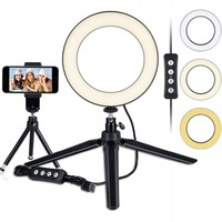 LED Ring Light 6 with Tripod Stand for YouTube Video and Makeup, Mini LED Camera Light with Cell Phone Holder Desktop LED Lamp