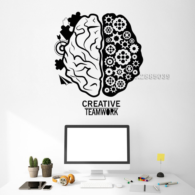 Teamwork Brain Gear Creative Office Decor Wall Stickers Commerce Room Wall  Decal Interior Art Wallpapers DIY
