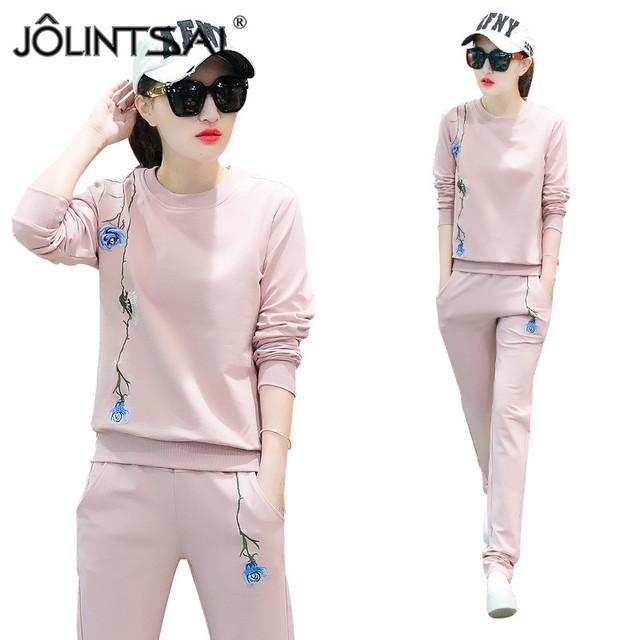 4 Cores Mulheres Ternos Esportivos Conjuntos de Treino Sweatershirt + Calças Mulheres Flor Impressa 2017 da Longo-luva Hoodies 2 Peça conjunto