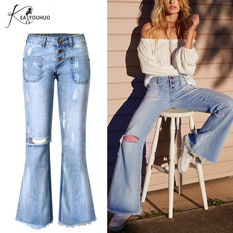 2019 Summer Flare With High Waist Women Female   Jeans   Bell Bottom Ripped   Jeans   For Women Wide Leg Denim Mom Skinny   Jeans   Woman