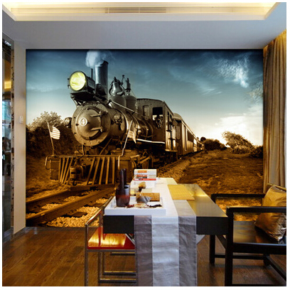 Exceptional ... Aliexpress Mural Personalized 3d Wallpaper Tv Background Wall Vintage  Large Mural Steam Train From Reliable Tv ... Part 3