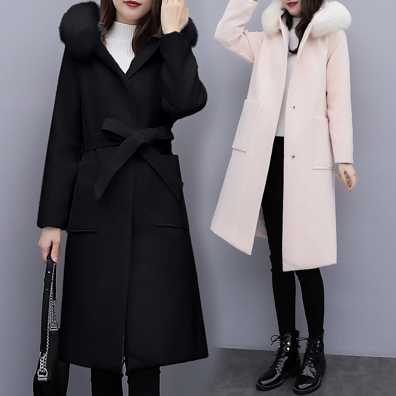 Office Lady Solid Long Woolen Winter Coats Covered Button Wool Coat And Jacket Hooded Slim  Ladies Coats