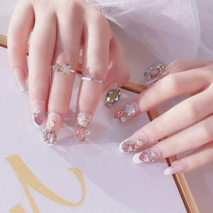 24 pcs Set Wedding Fake Nails Wedding Art Nail Tips crystals Manicure Design  3D Flower f09420a86a6d