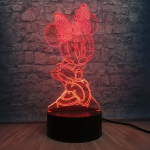 Image 3 - 3D LED Lamp Bedroom Minnie Mickey Stitch Table Night Light 7 Color Change Base Lamp Baby Bedroom Decor Kids Drop Shipping