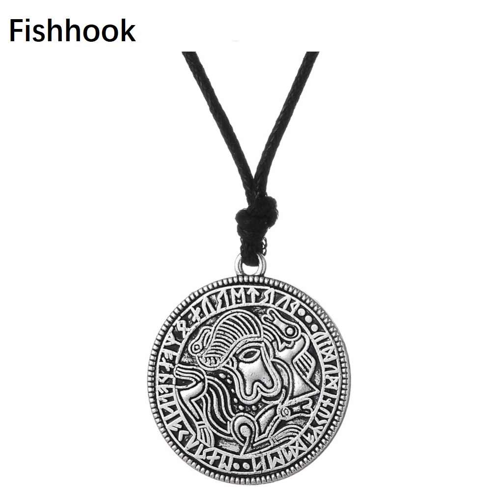 Fishhook Coin Jewelry Viking Pendant Vadstena Bracteate Sweden Swedish Tibetan Necklace Medallion Amulet Men Vintage Jewelry