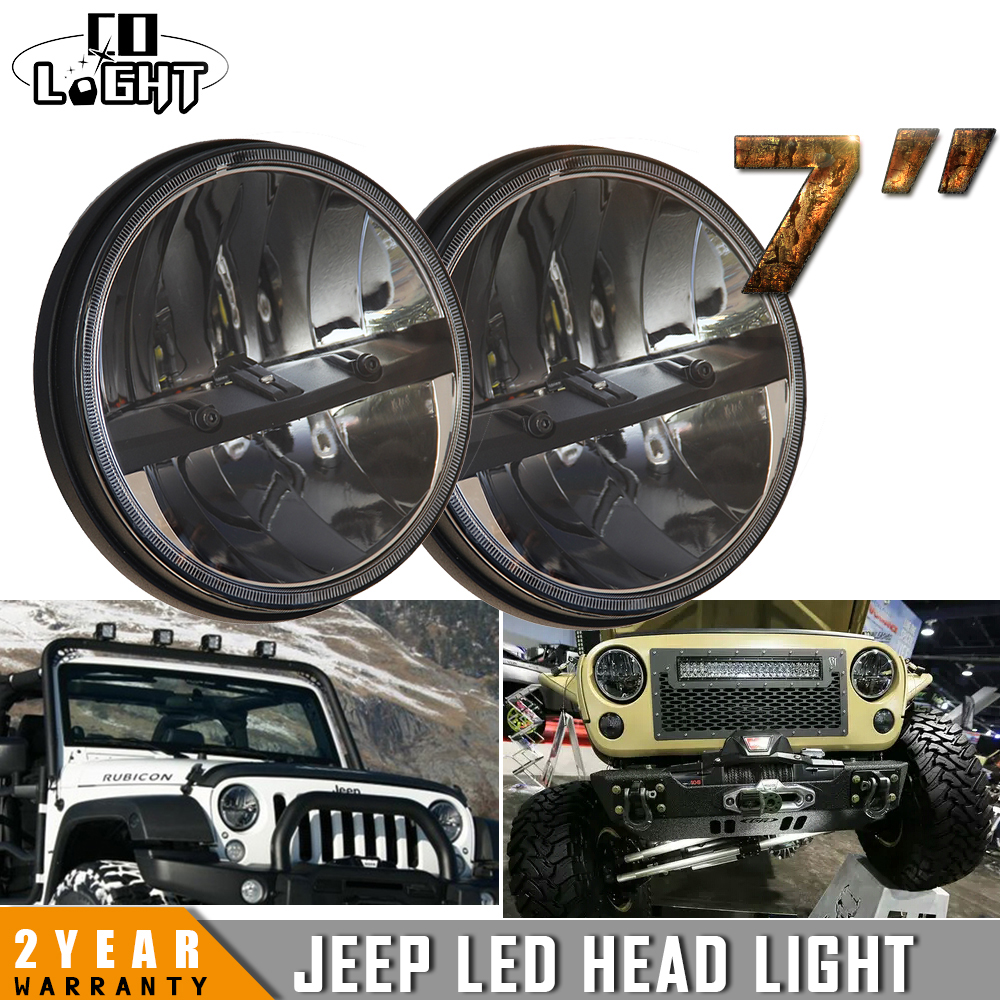 CO LIGHT 7 Inch Led Driving Light 80W Led Chip Hi & Lo Beam Round Drl Led Headlights for Jeep JK TJ Lada Niva 4x4 Offroad h4 7 led headlights with led car canbus led chip 80w 8000lm 6000k hi lo led driving light for off road uaz lada