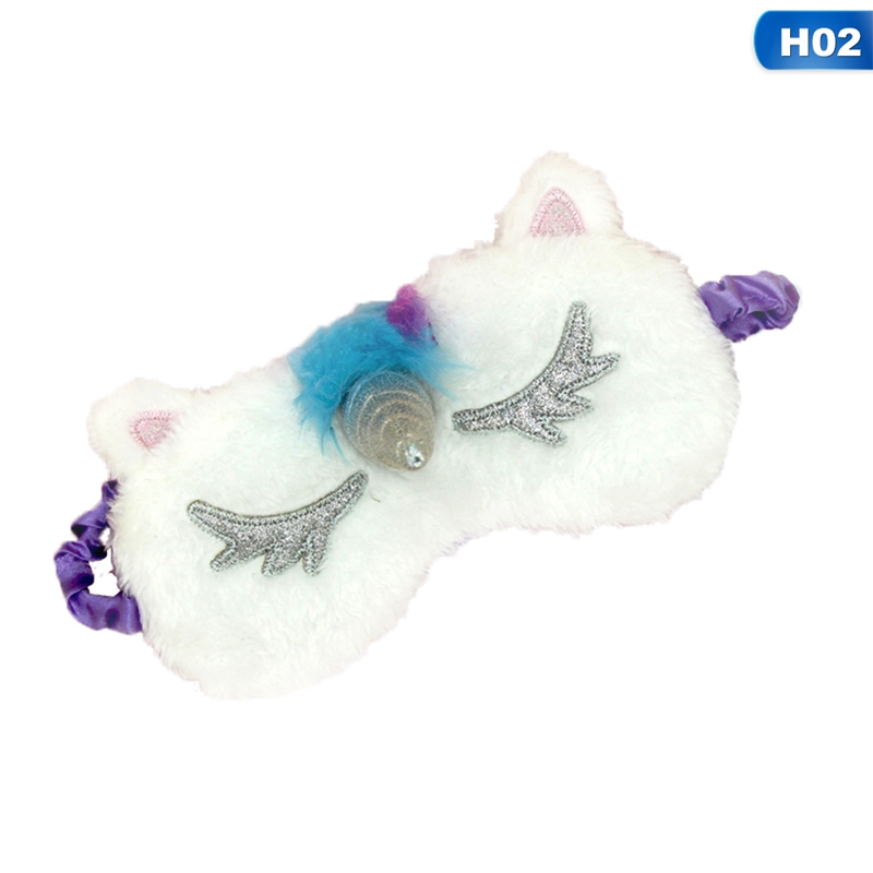 Cute Unicorn Sleeping Eye Mask Cartoon Blindfold Eye Cover Shadow Soft Cover For Girl Kid Teen Traveling Sleep Eyeshade Eye Aid