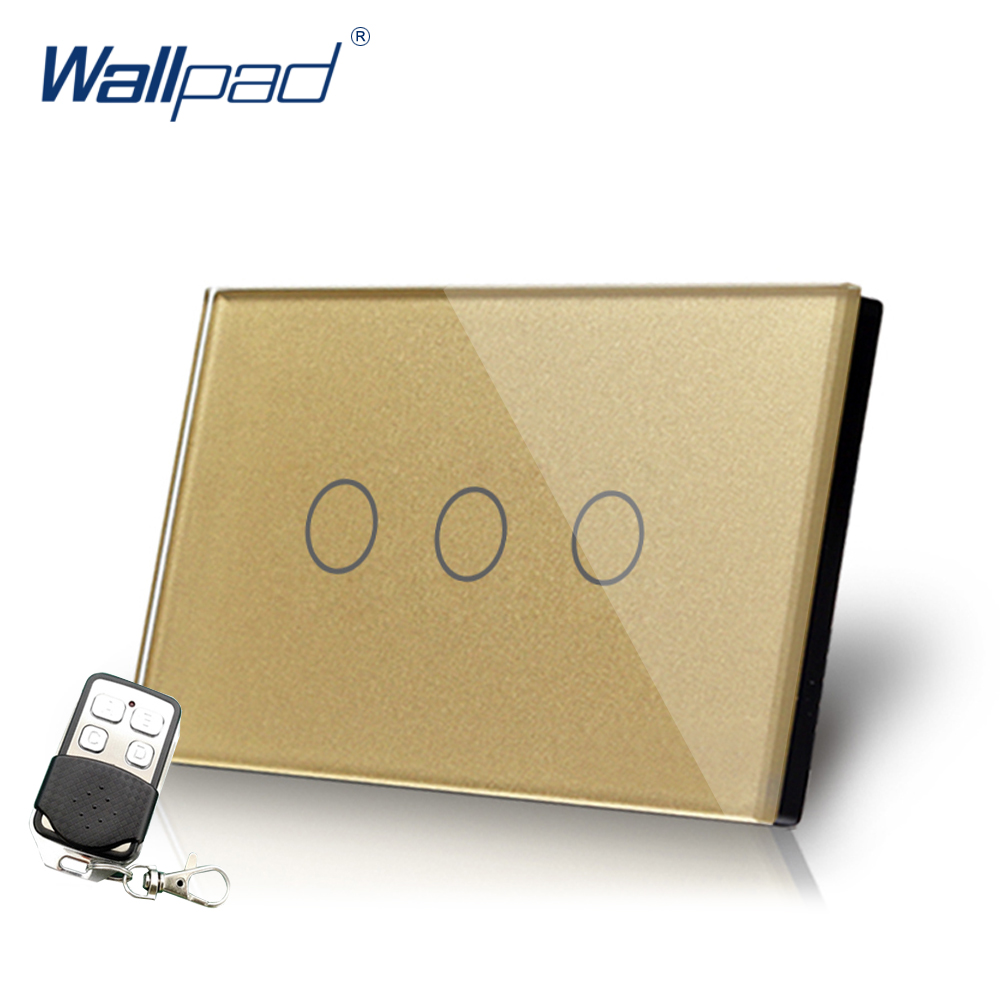 Gold 3 Gang Remote Light Switch Wallpad Luxury US/AU Crystal Glass Screen 3 Gang Intermediate Remote Switch LED Touch Switches white 3 gang remote control light switch crystal glass screen switch wallpad luxury us au led touch switch with remote control