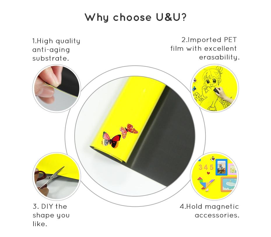 930_03 DIY Whiteboard Writing Board Dry Wipe Ferrous Whiteboard Message Yellow Board 120 x 80 cm x 0.6 mm