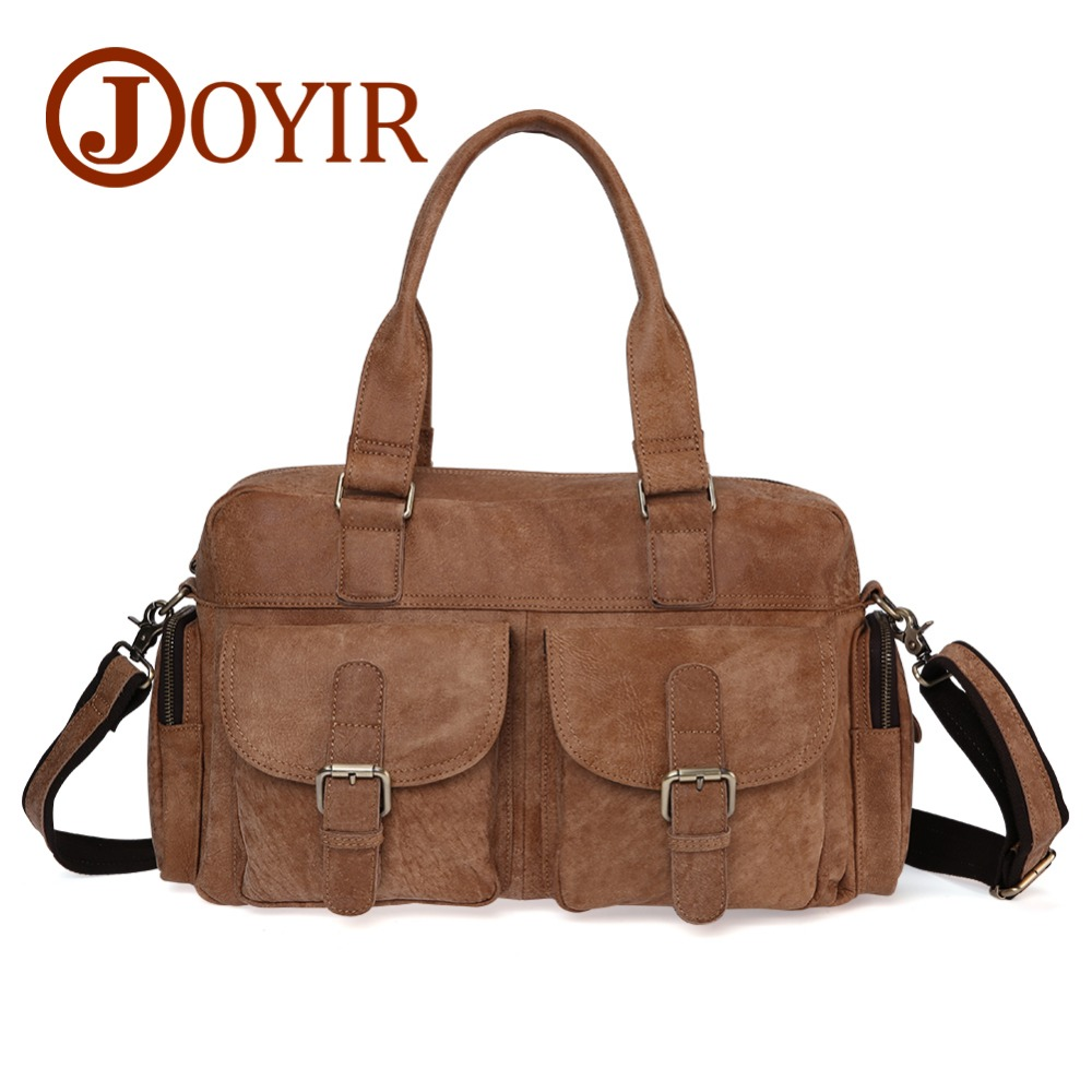 JOYIR Genuine Leather bag Business Men bags 15'' Laptop Tote Briefcases Crossbody bags Travel Shoulder Handbag Casual Men's Bags