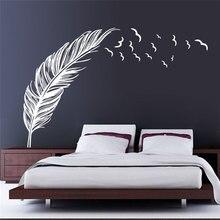 Czeski styl aplikacja romantyczny ścienne z piór naklejka wnętrze dekoracji sypialni pokój dzienny plakat na ścianę naklejka mural ZM15