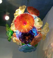 Murano Glass Flower Chandelier for Home Art Decoration Colorful Chihuly Style LED Blown Glass Chandelier Lighting