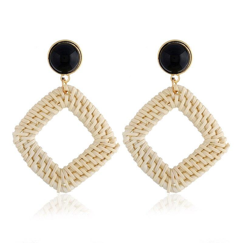 Good Wood Earring Rattan Knit Handcraft Ethnic Bohemian Earrings For Women
