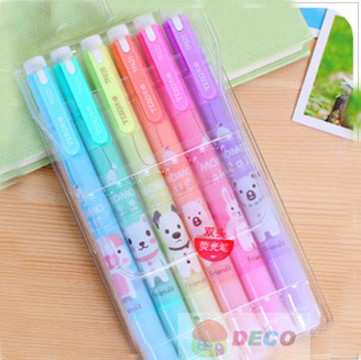 6 Colors  Fresh Look And Cute Animals Design Double-end Highlighter Pen Fluorescent Pen Wholesale (SS-5944)