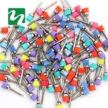 50 قطعة فرشاة تلميع الأسنان الملونة الملمع Prophy قاعدة أكواب مطاطية مزلاج النايلون لمختبر طب الأسنان