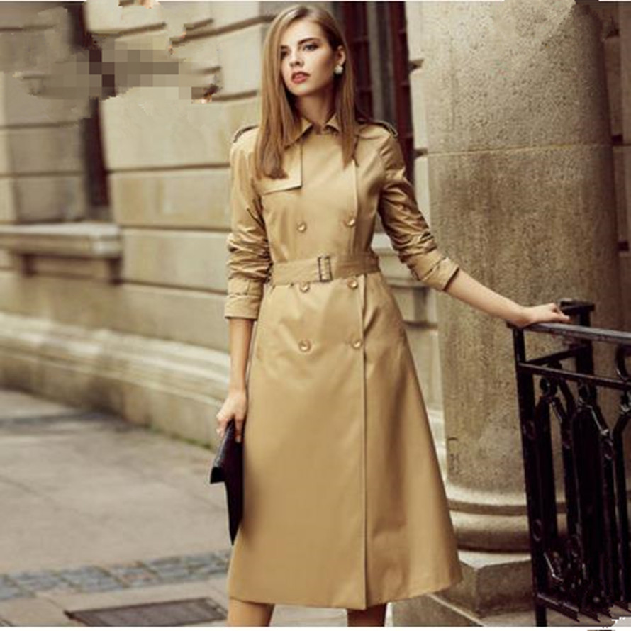 2018 Autumn New fashion Women   Trench   Coat Long Windbreaker Europe America Fashion Trend Double-Breasted Slim Long   Trench