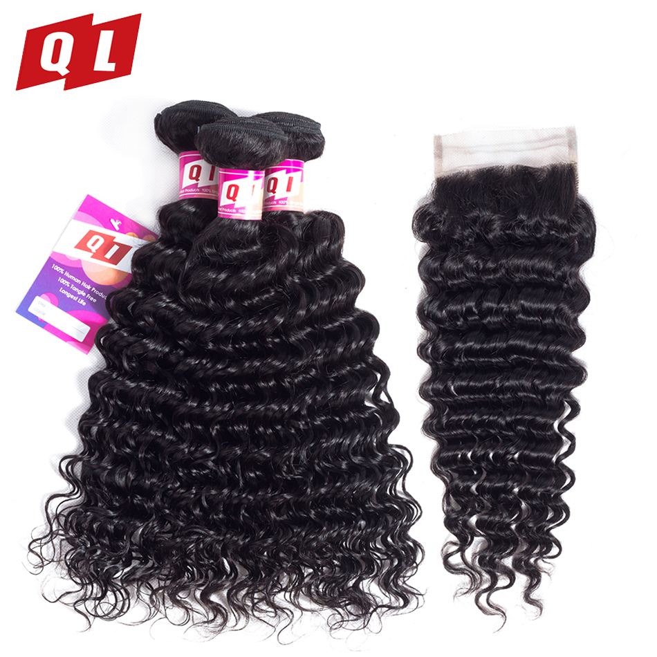 QLOVE HAIR 100 Human Hair Malaysian Hair Deep Wave Bundles With Closure 3 Bundles Non Remy
