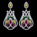De alta qualidade bonita de luxo micro pave colorida multicolor AAA brincos Cubic Zirconia para mulheres, Festa / jóias nupcial do casamento