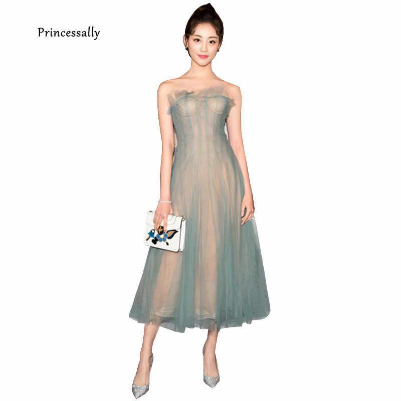 Chính thức Cổ Điển Buổi Tối Ăn Mặc Trà Length Đẹp Strapless Xanh Ruffles Xám Princessally Evening Gown New Vestidos Femininos