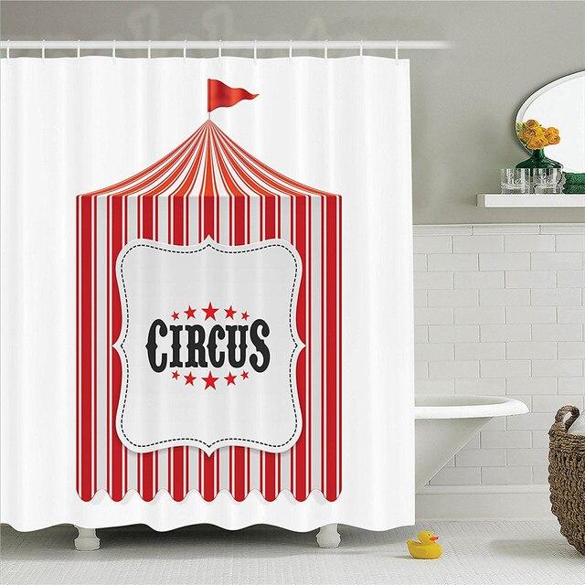 Circus Decor Shower Curtain Set Tent Flagpole Classic Festival Childish Joy Leisure Themed Illustration Art