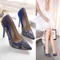 New fashion pointed toe  high heel women pumps gold metal flower party wedding shoes sexy high heels summer shoes