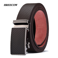 New High Quality Brand Luxury Automatic Buckle Cowhide Belt Leather Belts For Men Geometric Pattern Hot