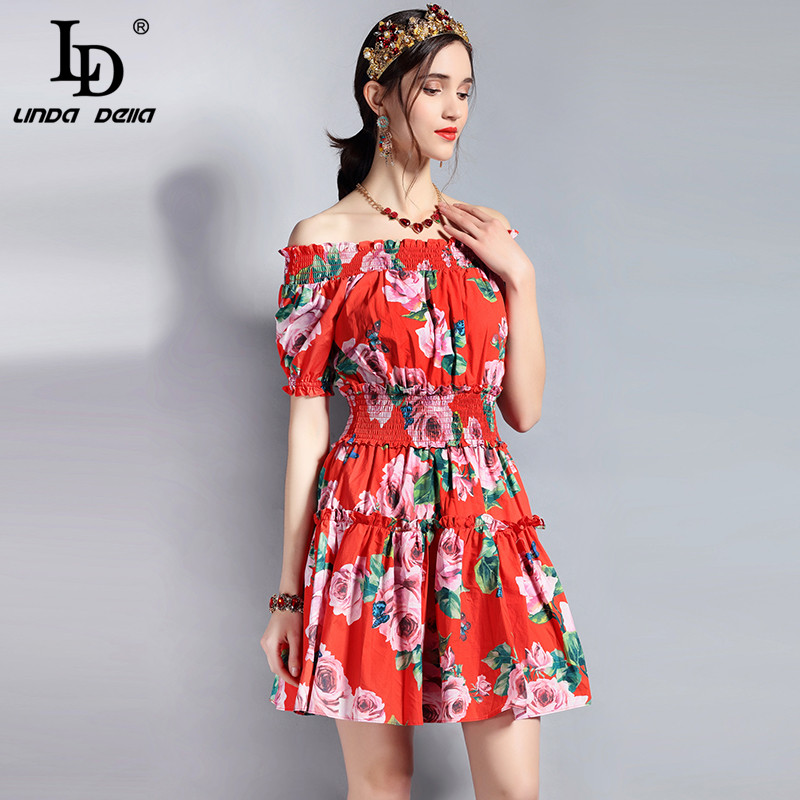 fdbd57489a2 LD LINDA DELLA Designer Summer Dress Women s Slash neck Off the Shoulder  Elastic Waist Casual Floral Print Mini Short Dress-in Dresses from Women s  Clothing ...